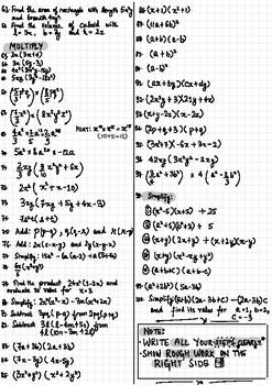Mega worksheet- Algebraic Expressions (CBSE)