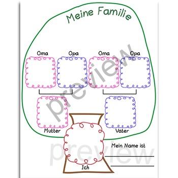 meine familie family tree german by catherine s tpt. Black Bedroom Furniture Sets. Home Design Ideas
