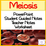 Meiosis PowerPoint, illustrated Student Guided Notes, Worksheet.