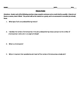 Meiosis Pretest, Study Guide, & 4 Version Quiz