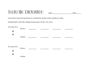Melodic Dictation Template