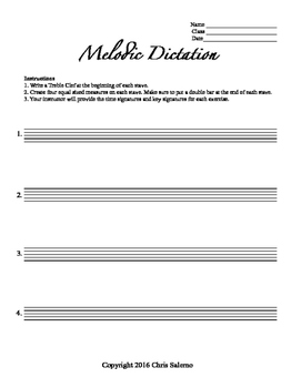 Melodic Dictation Worksheet