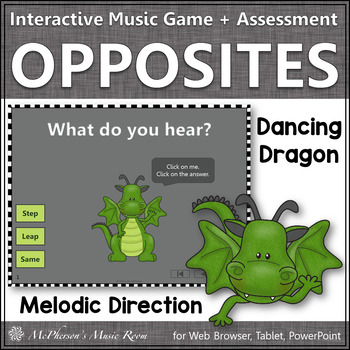 Melodic Direction: Step Leap Same - Interactive Music Game + Assessment (dragon)