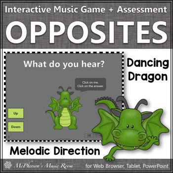 Melodic Direction: Up or Down ~ Interactive Music Game + Assessment {dragon}