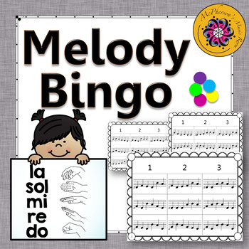Melody Bingo Game {Do Re Mi Sol La} with Quarter Notes 3x3 grid