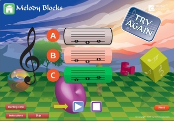 Melody Blocks in C Interactive Music Activity