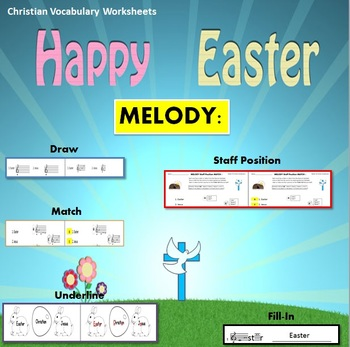 Melody: Easter Christian Vocabulary Theme 1: Match, Draw,