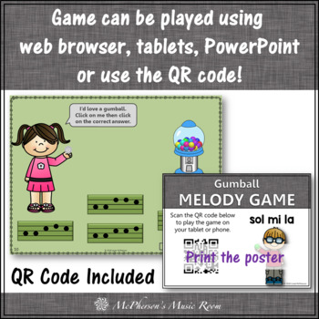 Music Game: Mi Sol La Interactive Melody Game + Assessment {gumball}