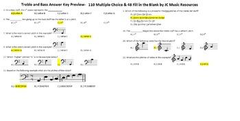 Melody- Treble & Bass 110 Multiple Choice