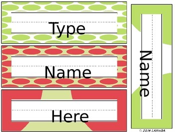 Melon & Lime Editable Nameplates