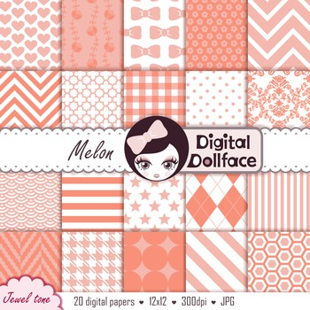 Melon, Peach Digital Paper / Patterned Backgrounds