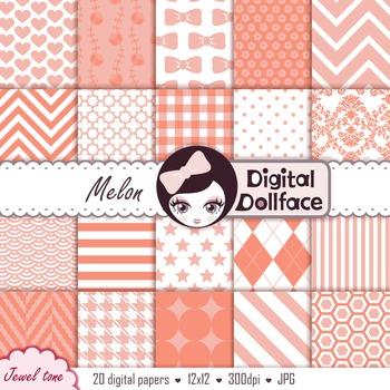 Melon, Peach Digital Paper / Patterned Backgrounds