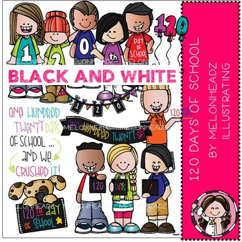 Melonheadz: 120 days of school clip art - BLACK AND WHITE