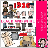 1920 clip art - BLACK AND WHITE - Melonheadz clipart