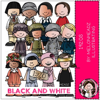 1920 clip art - Kidlettes - BLACK AND WHITE - by Melonheadz
