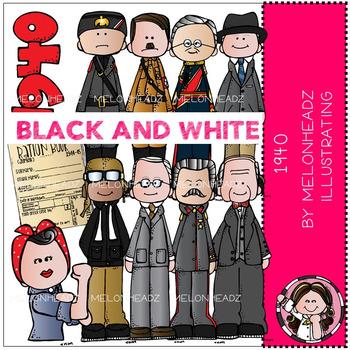 Melonheadz: 1940 clip art - BLACK AND WHITE