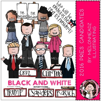 Presidential Candidates clip art - 2016 - BLACK AND WHITE - by Melonheadz