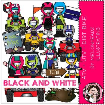 Melonheadz: ATV - UTV - Dirt Bike clip art - BLACK AND WHITE