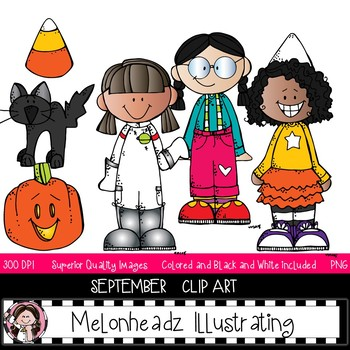 Fall Stuff clip art - BLACK AND WHITE - Melonheadz Clipart by Melonheadz