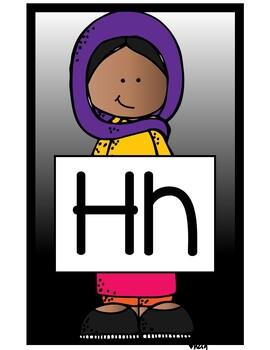 Cute Students Alphabet Display Black Version