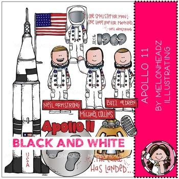 Apollo 11 clip art - BLACK AND WHITE - by Melonheadz