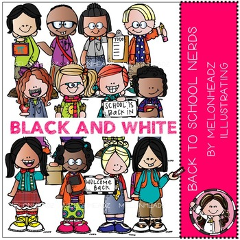 Back to School clip art - Nerds - BLACK AND WHITE - by Melonheadz