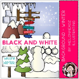 Background - Winter clip art - BLACK AND WHITE by Melonheadz