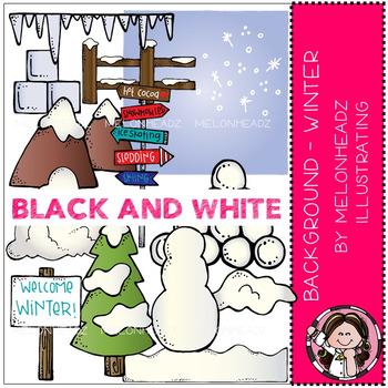 Background - Winter clip art - BLACK AND WHITE by Melonheadz