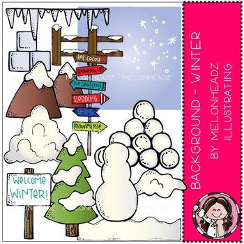 Melonheadz: Background - Winter clip art - COMBO PACK
