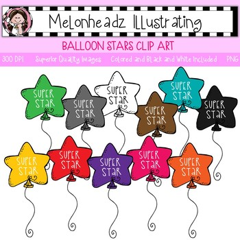 Melonheadz: Balloon Stars clip art - Single Image