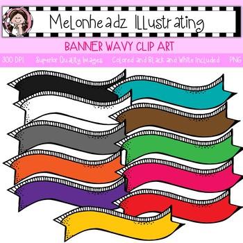 Melonheadz: Banner clip art - Wavy - Single Image