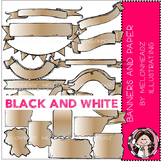 Banners and Paper clip art - BLACK AND WHITE - by Melonheadz