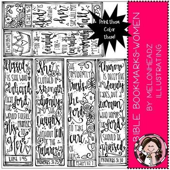 Bible Bookmarks clip art - Printables - Women - by Melonheadz