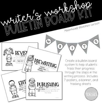 Melonheadz Blacklines Writer's Workshop Bulletin Board Kit