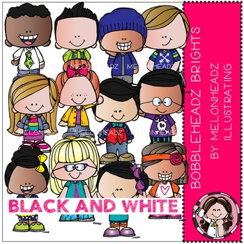 Bobbleheadz clip art - Brights - BLACK AND WHITE - by Melonheadz
