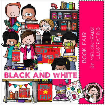 Book Fair clip art - BLACK AND WHITE - by Melonheadz
