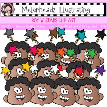 Melonheadz: Boy with Stars clip art - Single Image