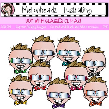 Melonheadz: Boy with glasses clip art - Single Image
