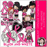 Breast Cancer Awareness clip art - BLACK AND WHITE - by Melonheadz