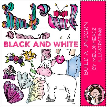 Build a Unicorn clip art - Black and White - by Melonheadz