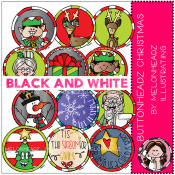 Buttonheadz Christmas clip art - BLACK AND WHITE - by Melonheadz