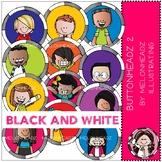 Melonheadz: Buttonheadz clip art - Part 2 - Black and White