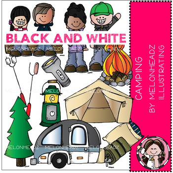 Melonheadz: Camping clip art - BLACK AND WHITE