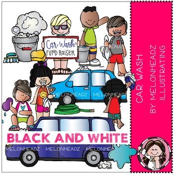 Melonheadz: Car Wash clip art - BLACK AND WHITE