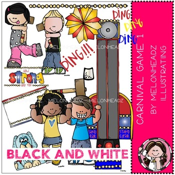 Melonheadz: Carnival Games 1 BLACK AND WHITE Clip Art