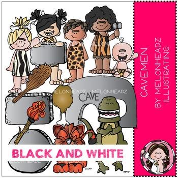Cavemen clip art - BLACK AND WHITE - by Melonheadz