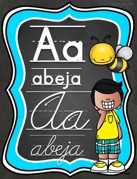 Melonheadz Chalkboard Brights Spanish Alphabet posters