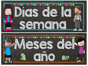 Melonheadz Chalkboard Brights Spanish Calendar Set - Set de Calendario