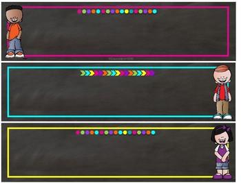 Melonheadz Chalkboard Brights editable nameplates in PPT