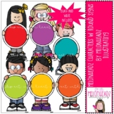 Melonheadz Characters with round signs clip art - Mini - b